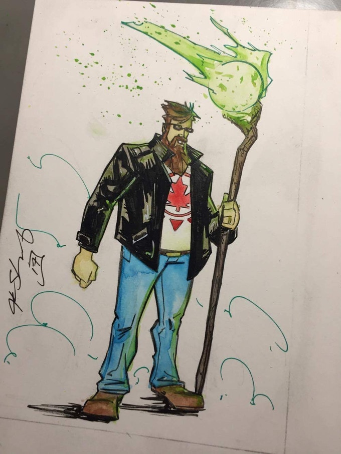 4x6 fully coloured original art of Auroraman by Justin Shauf, available as an add on!