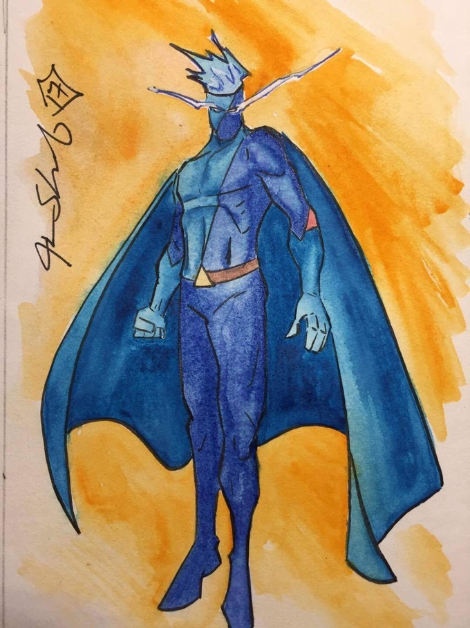 4x6 fully coloured original art of Axiom-man by Justin Shauf, available as an add on!