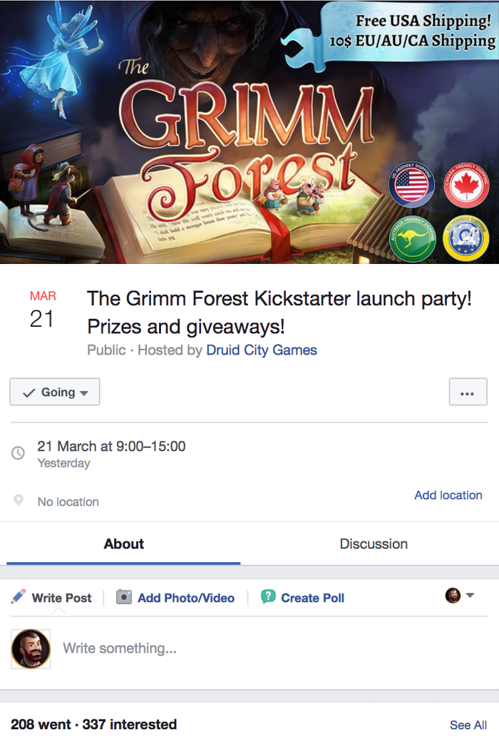 An example of how we promoted the event on Facebook