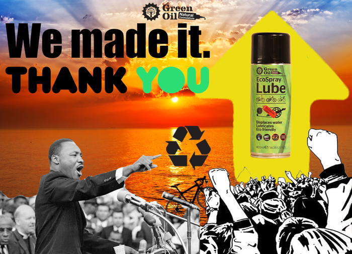 We did it! Production will soon commence. Other spray lubricants use PTFE and petroleum oils.  We use plants. Pre-order now.