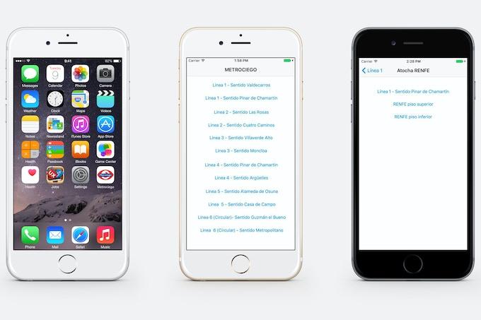 Prototipos de la aplicación con el simulador de iPhone de Xcode