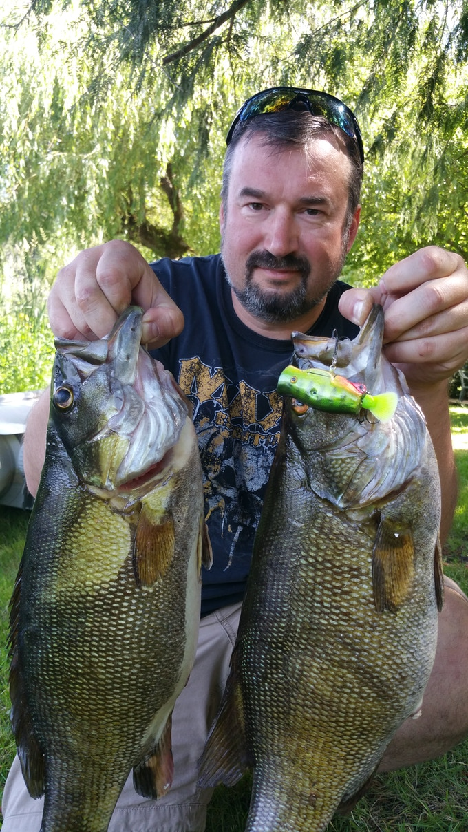 Bass caught on the eMinnow BASSKISSER Floating Popper Lure