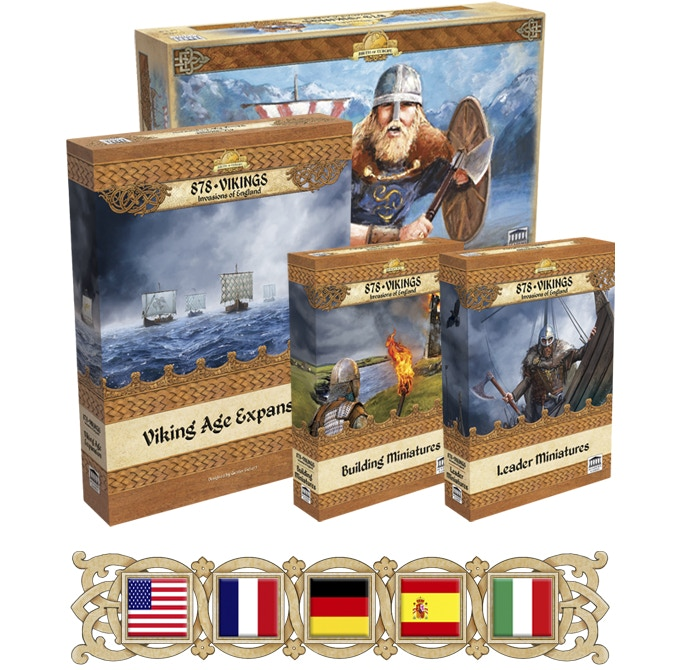 You can choose an English, French, German, Spanish or Italian language 878 Vikings game when we send you the survey at the end of this Kickstarter campaign.