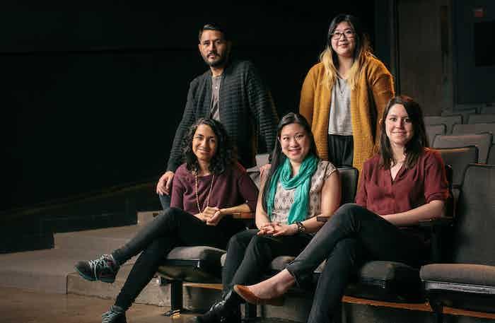 Back Row L to R: Carlos Rojas and Hannah Choe // Front Row: Rekha Shankar, Stephanie Ching, and Ellen Martinez