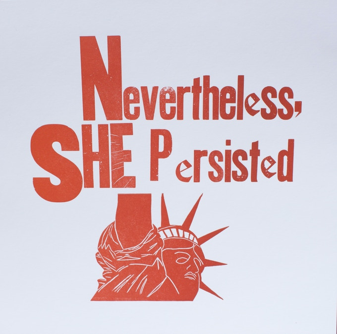 'She Persisted' Hand Letter Pressed large card