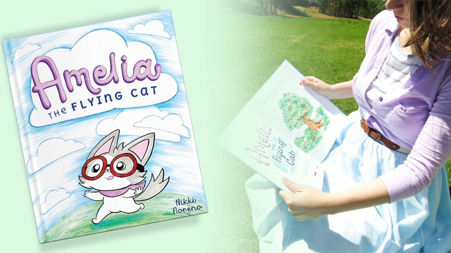 In this children's book, Amelia, a cat adopted by birds, learns falling down isn't easy, but that won't stop her from learning to fly.