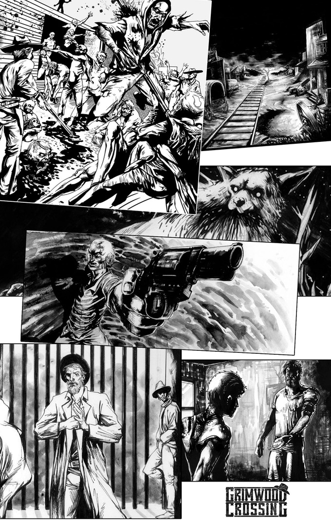 Various panels from issues 1,2 and 3
