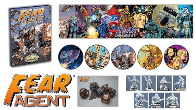 The Best Deal reward has it all -- The Fear Agent™ RPG, Bennies, Dice, GM's Screen, and Minis!