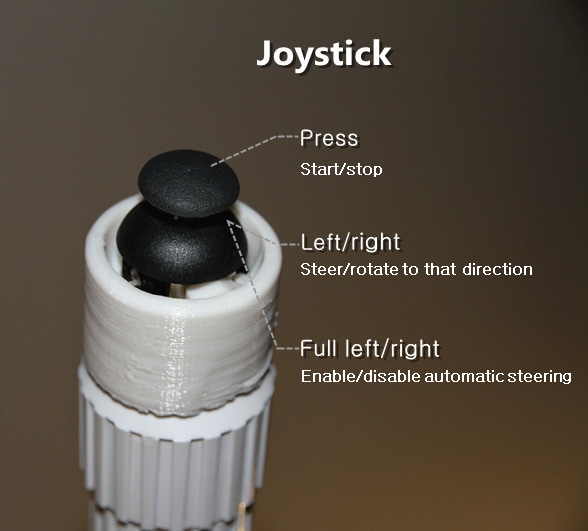 The joystick on top of the steering stick gives you full control over all functions of the Üo at any time.