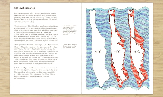 Sample page: What Manhattan would look like in different scenarios of global warming and sea level rise