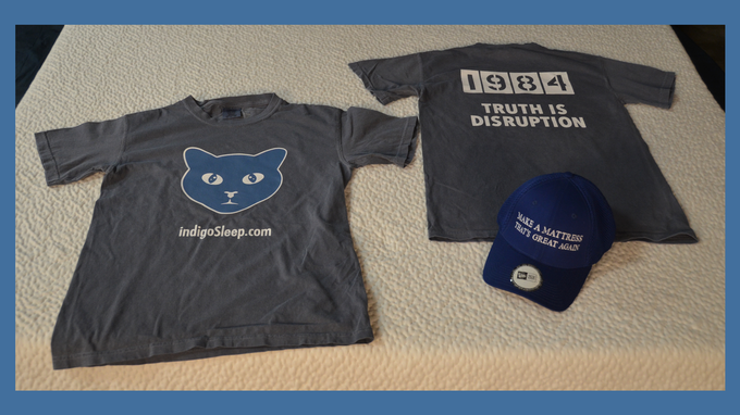 Too soon for a new mattress? We ask that you still support Indigo's mission by purchasing a T-Shirt or baseball cap -- or both!