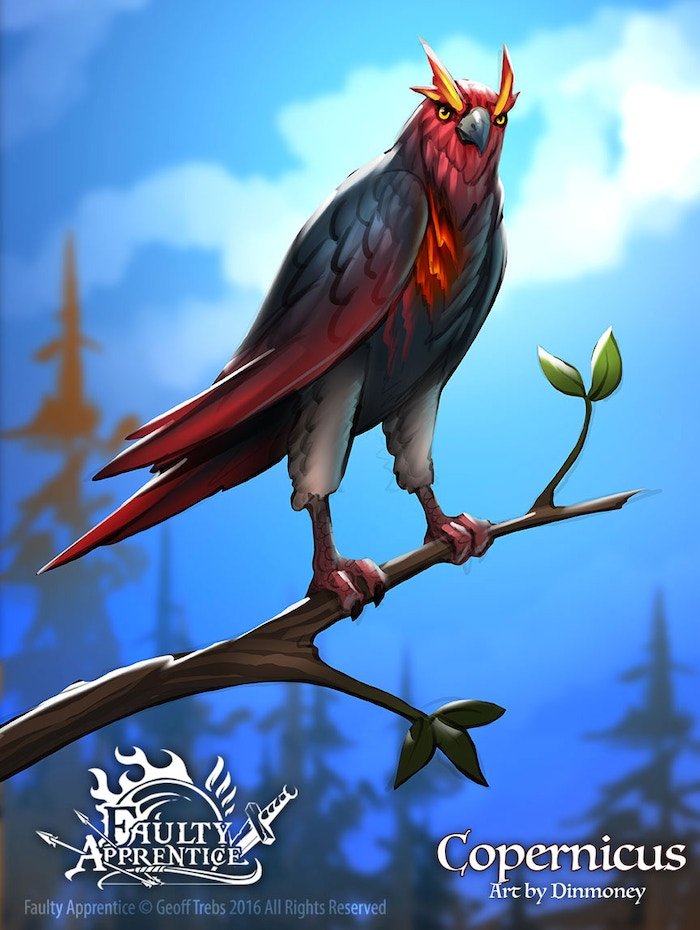 It's a very proud standing Hawk with red eyebrows and a sort of ember glow radiating from between his chest feathers.