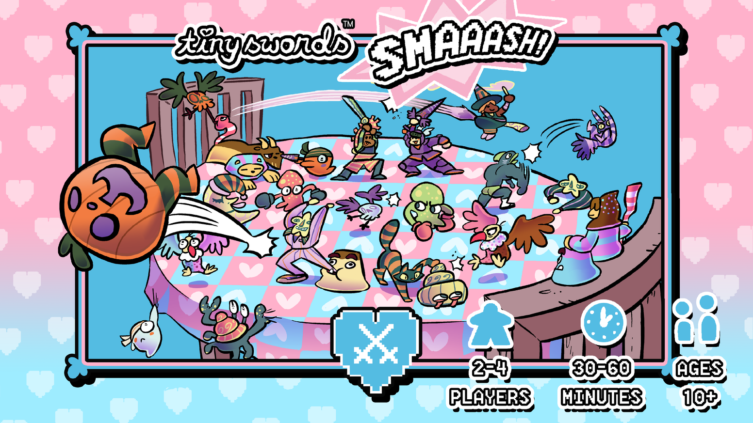 A madcap Smash Bros style boardgame for 2-4 friends! Lead your monsters into battle and kick your friends off the table!