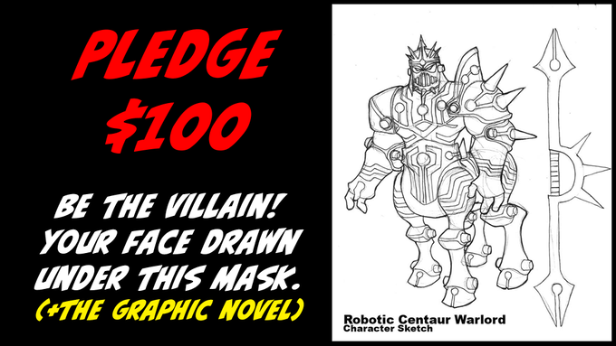 Pledge $100 to be drawn as the Villain by Marvin Law + Original Art + The Graphic Novel