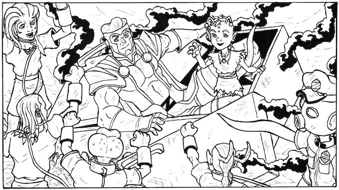 A panel form Zip Kramer Vs The Galactic Slavers