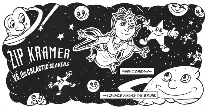 A panel from Nuone's first appearance in Zip Kramer Vs The Galactic Slavers