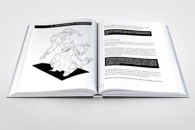 Mock-up dell'impaginazione interna (libro hardcover)