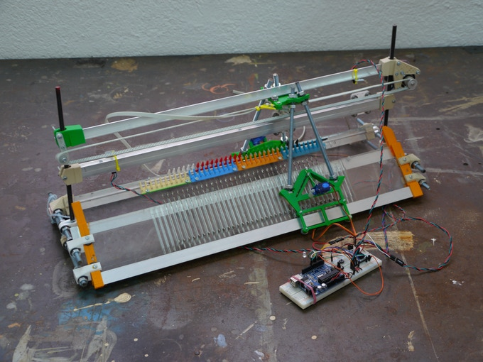 First prototype of a digital knitting machine made from scratch. 2013.