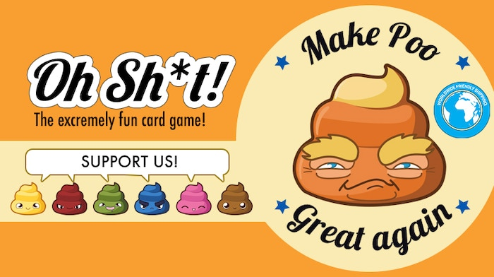 Stack poo cards, flush with a toilet or with 3 poo of the same color! Suppository is your friend! Constipate other players! Simply fun!