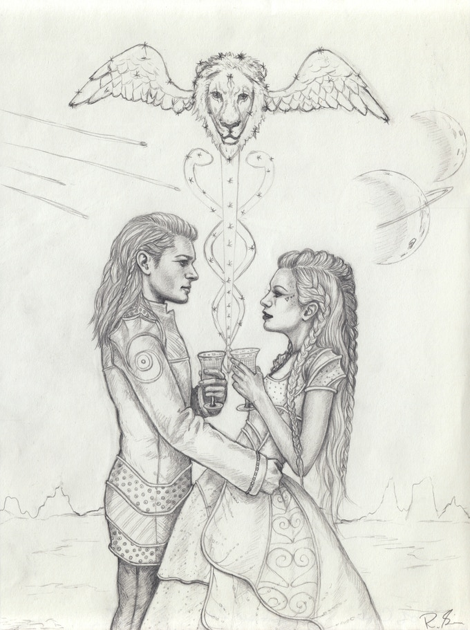 Rebecca Sinz' concept sketch for Two of Cups