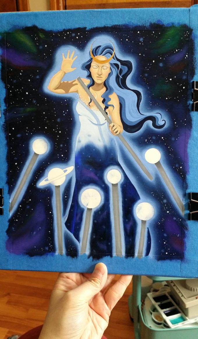 Monika Ptok-Byard displays her Seven of Wands in progress