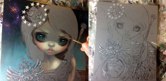 Jasmine Becket-Griffith works on her Empress
