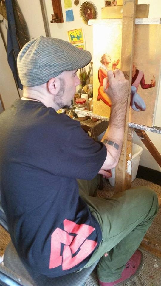 Chris Sedgwick creating his Lovers piece.
