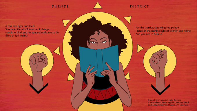 Sample personalized poem on the Duende District print!
