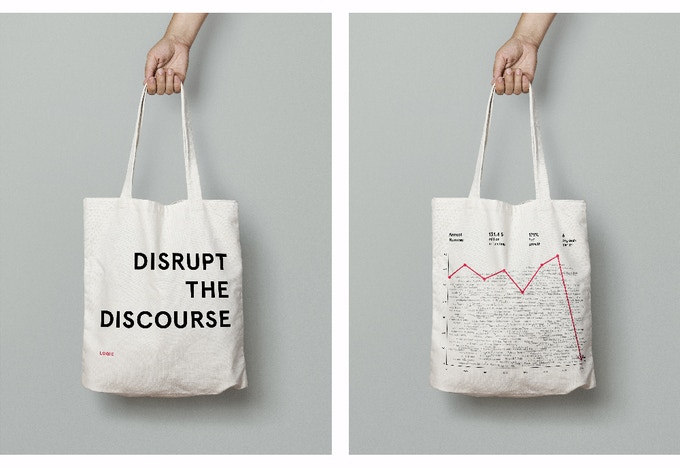 Tote design: first iteration. Designed by our Creative Director, Xiaowei Wang