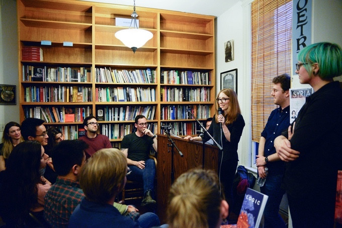 Moira reading the Logic manifesto at the Issue 1 launch party. March 15, 2017, at City Lights Books in San Francisco.