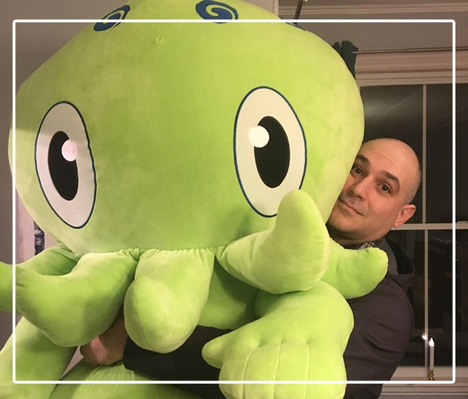 """Sweet Dream Cthulhu & C is for Cthulhu author Uncle Jason Ciaramella with """"The Big Guy"""""""
