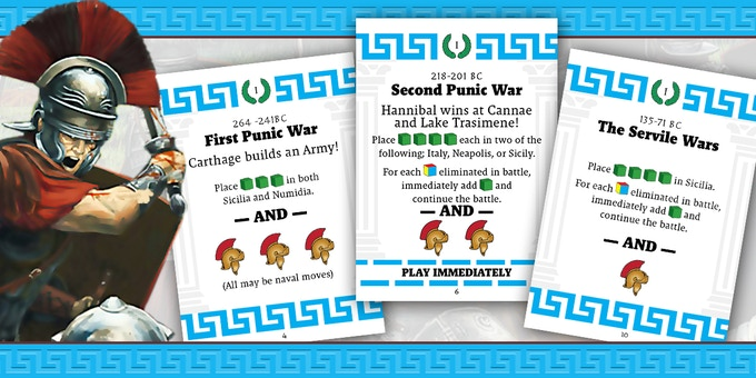 Three cards from Deck I - 300 BC to 100 BC