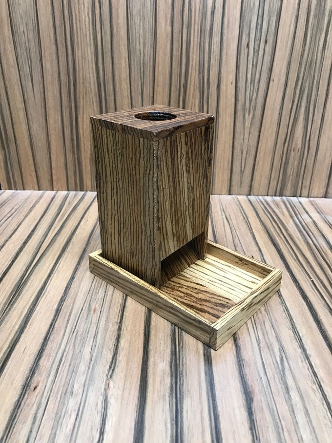 Solid Zebrawood Dice Tower And Tray