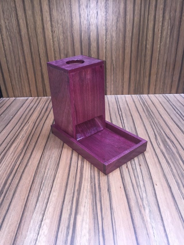 Solid Purple Heart DIce Tower And Tray