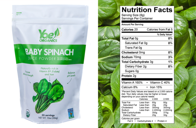 1 Ingredient - 100% US Grown Organic Non-GMO Baby Spinach