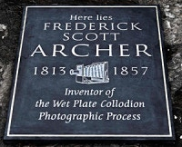 Archer's placard on his grave: The Archer Project 2010 - London, England