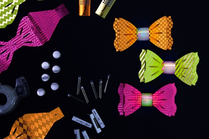 """DIY Light-Up Bow Ties """"Neon"""" Color Combination: Orange, Yellow, and Hot Pink"""