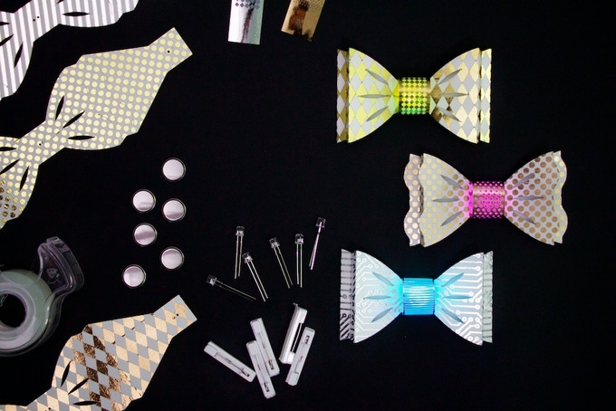 """DIY Light-Up Bow Ties """"Elegance"""" Color Combination: Gold, Rose Gold, and Silver"""