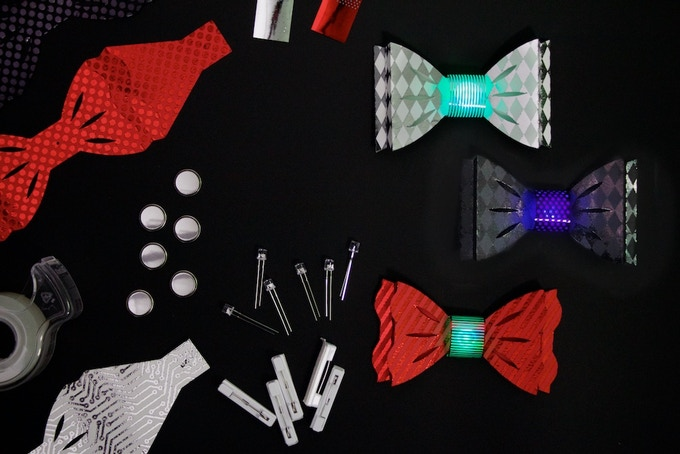 """DIY Light-Up Bow Ties """"Formal"""" Color Combination: White, Black, Red"""