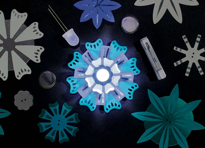 """DIY Light-Up Paper Flower Pins """"Blues"""" Color Combination: Blue, White, and Teal"""