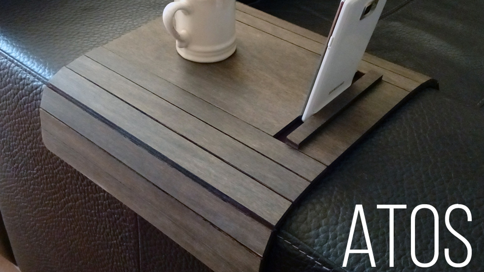 Atos Sofa Arm Rest Table With Cell Phone And Tablet Stand By
