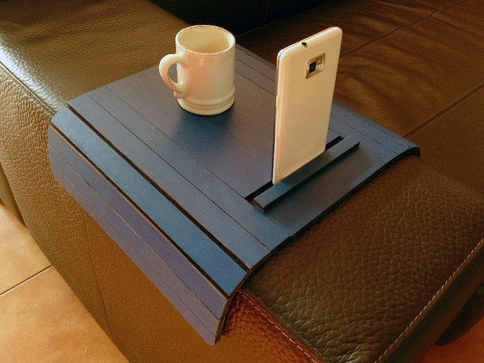 Atos Sofa Arm Rest Table With Cell Phone And Tablet Stand