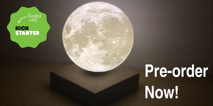 A levitating moon light with no injection mark and changeable color temperature and brightness and