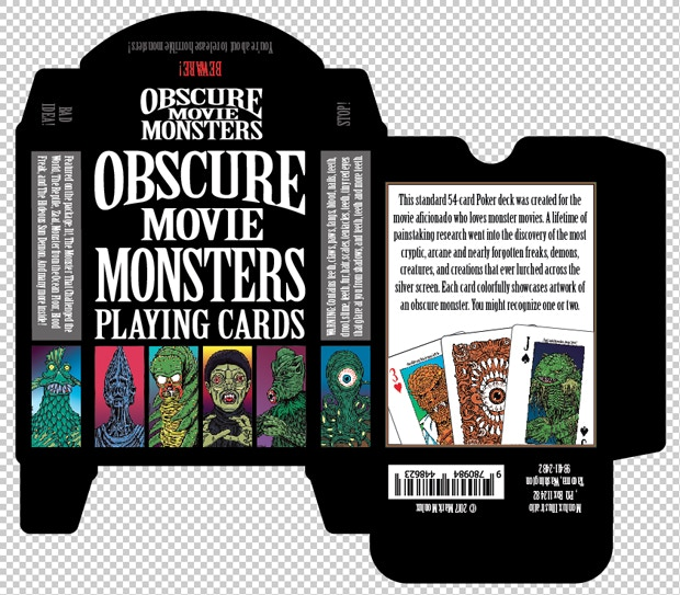 Tuck Pack Design for Obscure Movie Monster Playing Cards