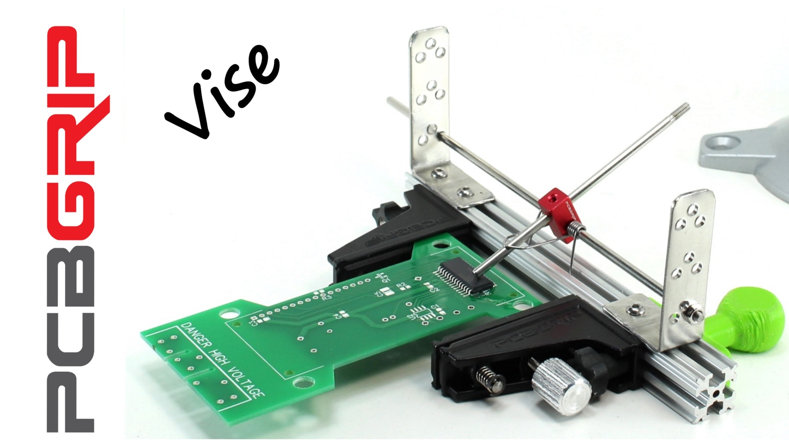 Low profile PCB vise that adjusts quickly and also holds components and probes, freeing your hands while you work