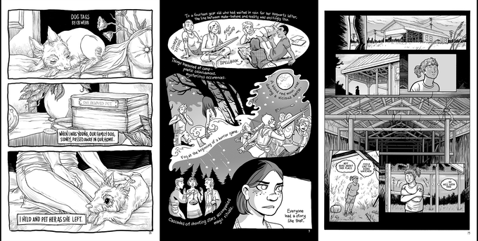 Pages from Then It Was Dark, art by CB Webb, Molly Ostertag and Elaine M Will
