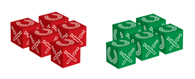 Red Roman Legion Battle Dice and Green Enemies of Rome Battle Dice