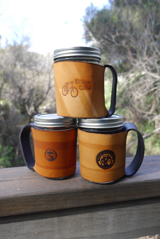 Mason Jar mugs we have made for ourselves and others.    Each one is different and unique.
