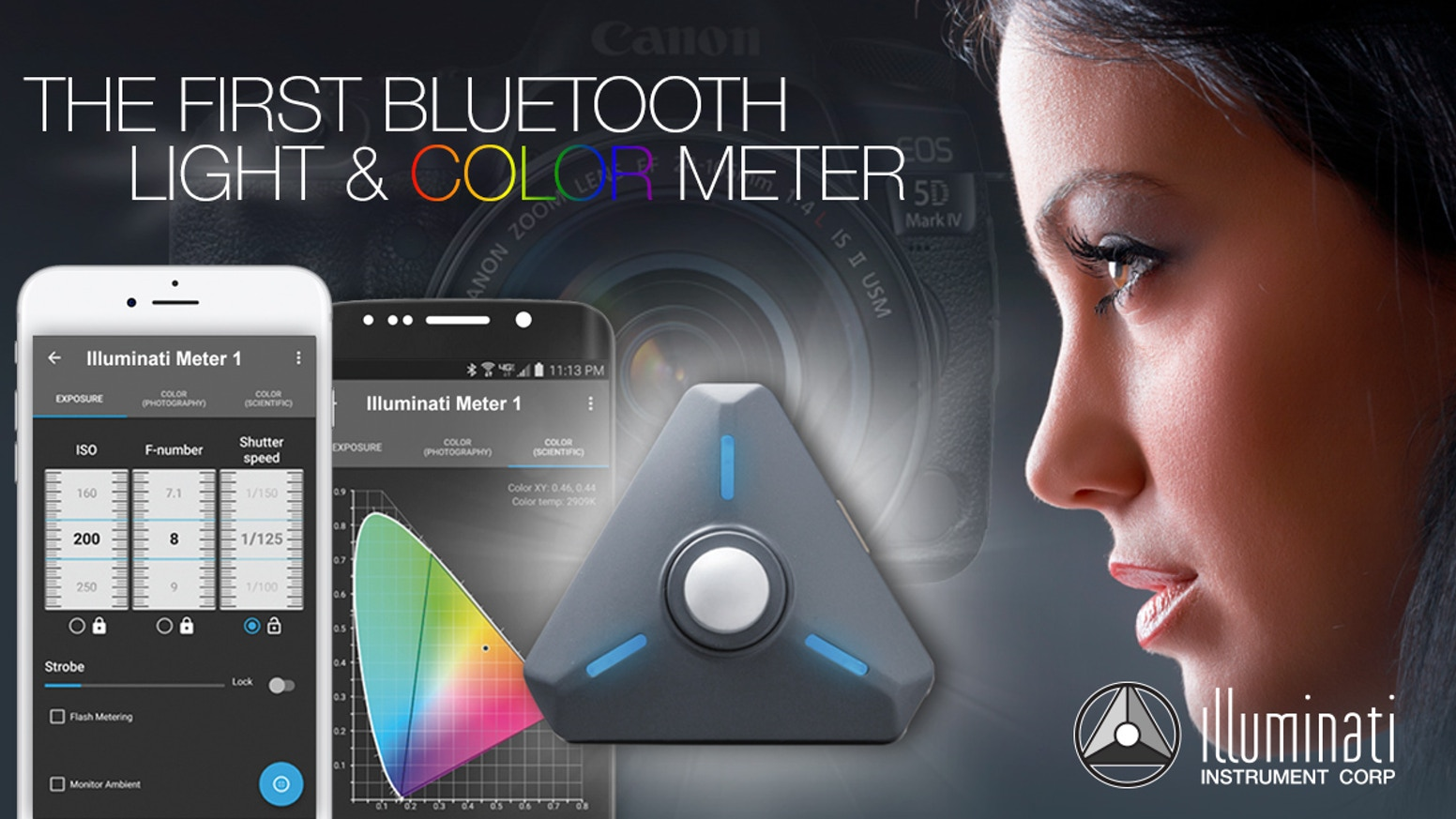 The Illuminati meter is a wireless, smartphone-connected light and color ambient and strobe meter for photography and filmmaking.