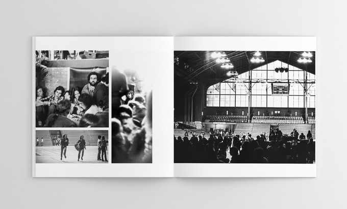 Two-page spread of the crowd